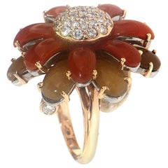 Zorab Creation Carnelian and Yellow Chalcedony Diamond Flower Cocktail Ring