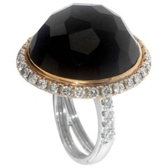 Zorab Creation 43.57 Carat Black Spinel White Diamond Dome Cocktail Ring