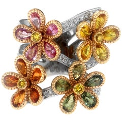 Zorab Creation Blooming Sapphire Flowers with Yellow Diamonds Ring