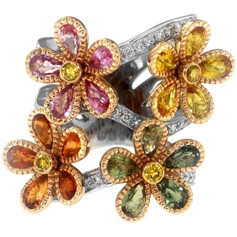 Zorab Creation Blooming Sapphire Flowers with Yellow Diamonds Ring