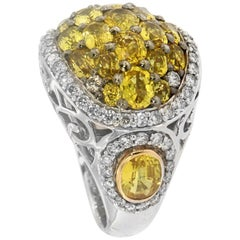 Zorab Creation Yellow Sapphire and White Diamond Cocktail Ring