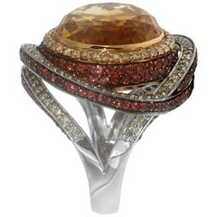 Zorab Creation Diamond 16.55 Citrine Carat Citrine Quartz Round Dome Ring