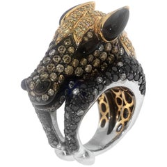 Zorab Creation Stallion Horse Spinel Cocktail Ring with Diamonds