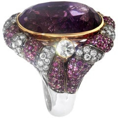 Zorab Creation 19.89 Carat Amethyst Pink Sapphire Diamond Cocktail Ring