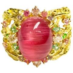 Matsuzaki K18 Pink Tourmaline Cat's Eye Sapphire Garnet Diamond Ring