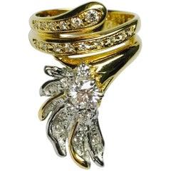Matsuzaki K18 PT900 Diamond Feather Inspired Fashion Ring