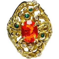 Matsuzaki K18 Facet Cut Fire Opal Emerald Diamond Designer Ring