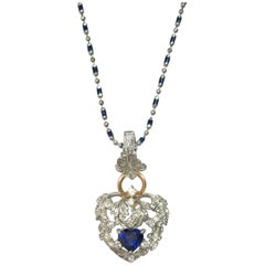 Matsuzaki Pt900 K18WG PG Blue Sapphire Diamond Leaf Motif Pendant Necklace