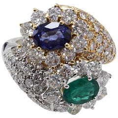 Luise Diamonds, Blue Sapphire and Emerald, Gold Cocktail Ring
