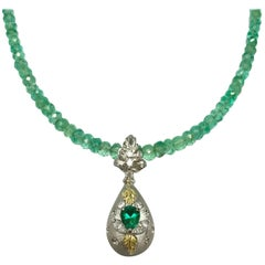 Matsuzaki Pear-shaped Emerald Diamond Locket Pillbox Gold Pendant Beads Necklace