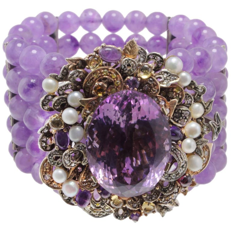 Amethyst Rose Gold Bracelet and Pearls, Diamonds, Amethyst Clasp