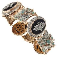 Tanzanites Emeralds Diamonds Onyx Gold Retro Bracelet