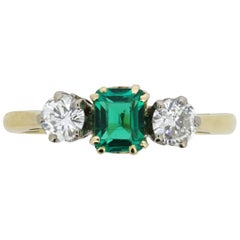 Art Deco Emerald and Diamond Three-Stone Ring, circa 1920s