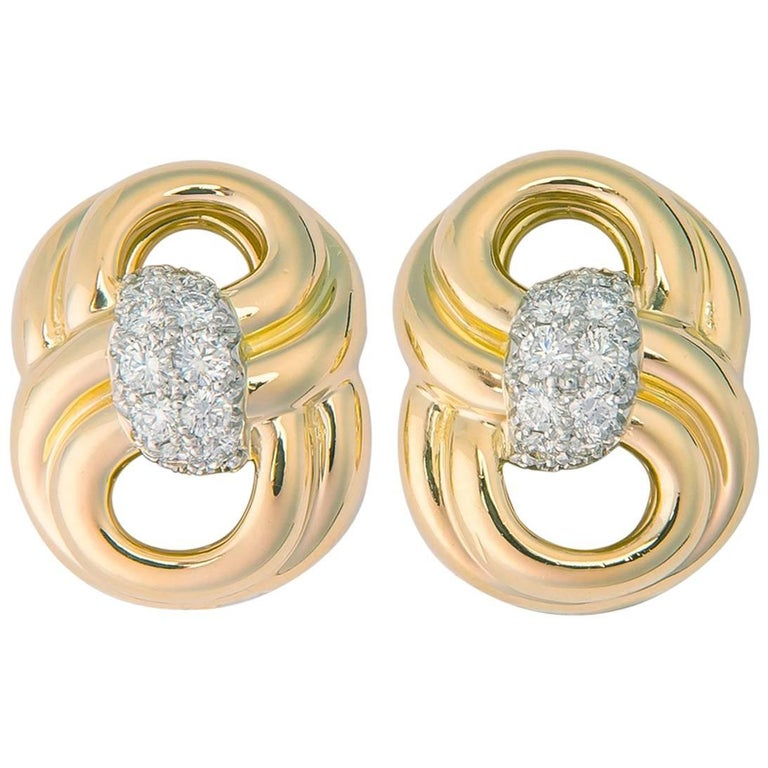 Classic Verdura Gold and Diamond Earrings