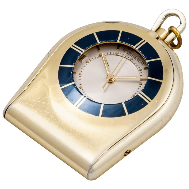 Jaeger LeCoultre Memovox Travel Mechanical Pocket Watch For Sale