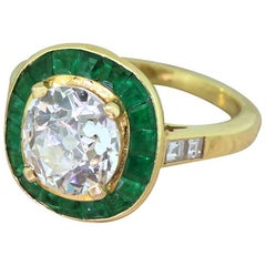 Midcentury 1.91 Carat Old Cut Diamond and Emerald Halo Ring