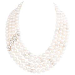 Ella Gafter Four Strand Japanese White Akoya Pearl Necklace Diamond Dividers