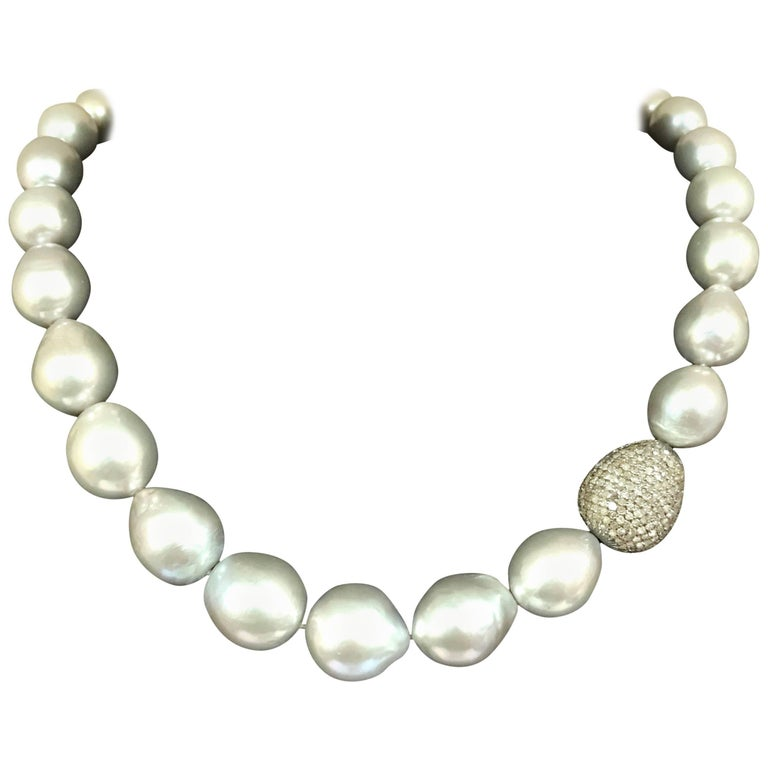 Grey Pearls and Brown Diamonds Necklace