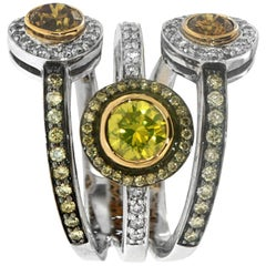 Zorab Creation Yellow Sapphire with Fancy Diamond Three Band Halo Ring