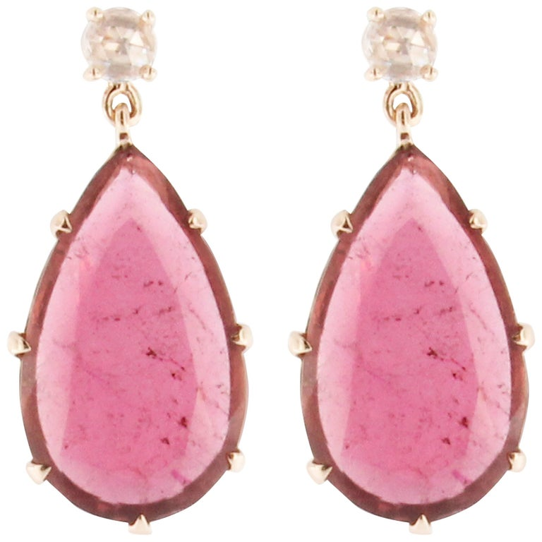 Jona Rubellite Diamond Gold Drop Pendant Earrings