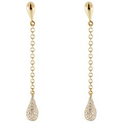 Jona White Diamond 18  Karat Yellow Gold Drop Earrings