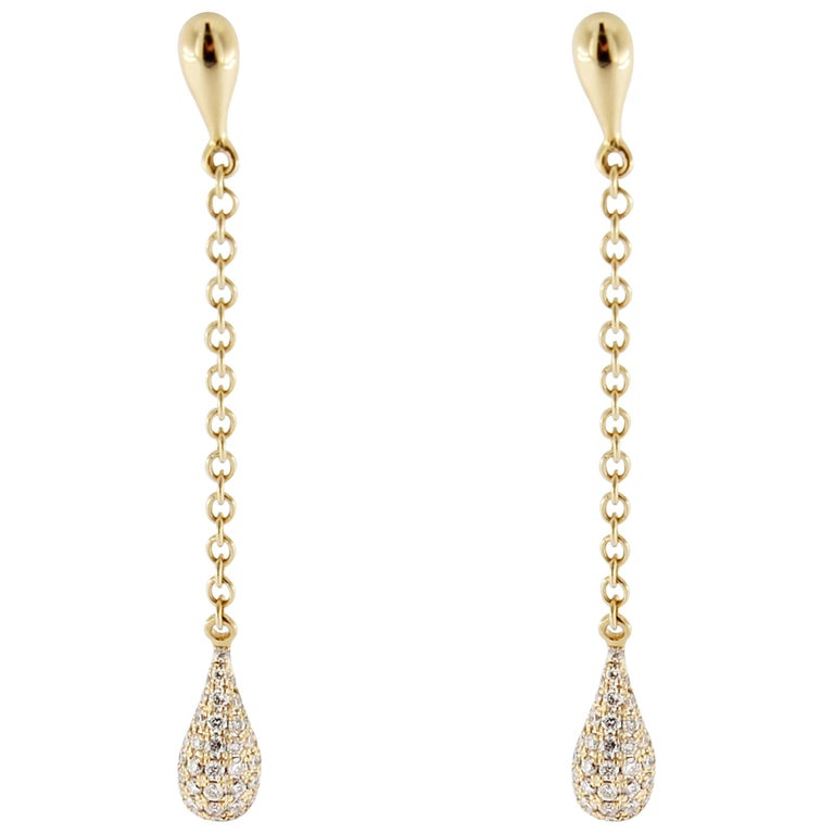 Jona White Diamond 18 k Yellow Gold Drop Earrings