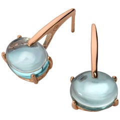 18 Karat Rose Gold Vermeil Aqua Blue Quartz, Gold Drop Long Modern Earrings