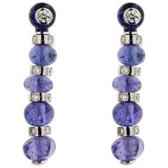 Jona Tanzanite White Diamond 18 karat White Gold Pendant Earrings