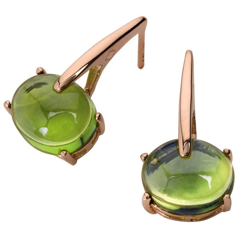 18 Karat Rose Gold Vermeil Green Amethyst Drop Long Modern Contemporary Earrings