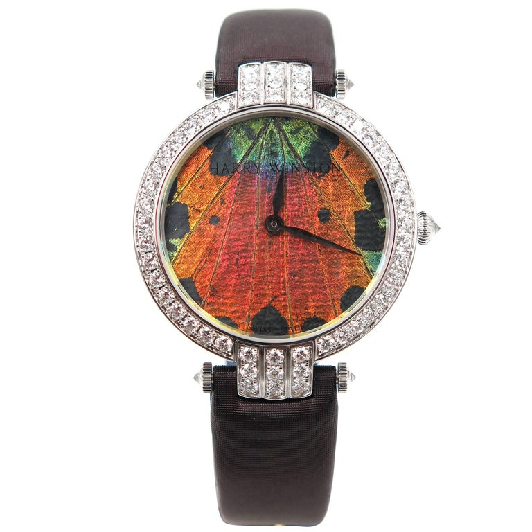 Harry Winston Ladies White Gold Precious Butterfly Automatic Wristwatch For Sale