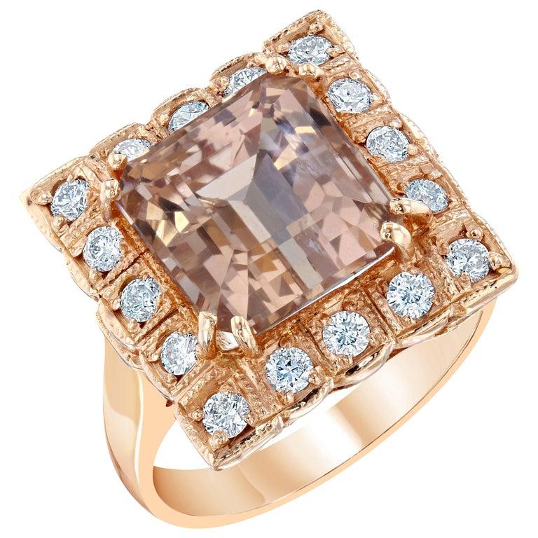 6.65 Carat Morganite Diamond Cocktail Rose Gold Ring