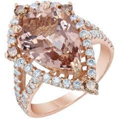 4.63 Carat Pear Cut Morganite Diamond Rose Gold Ring