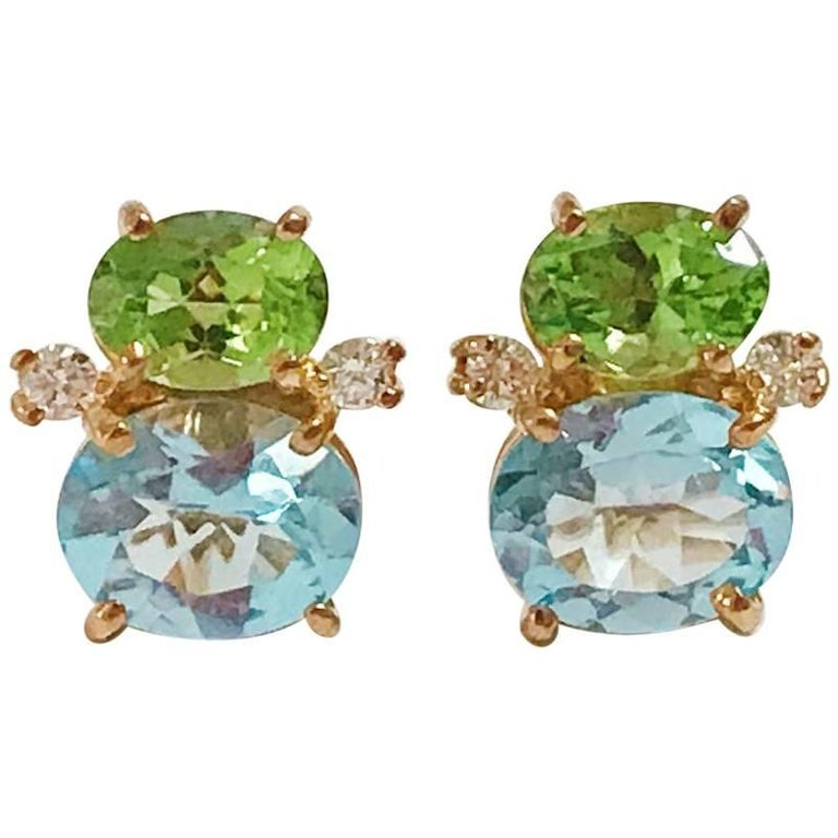 Mini Gum Drop Earrings with Peridot and Blue Topaz and Diamonds