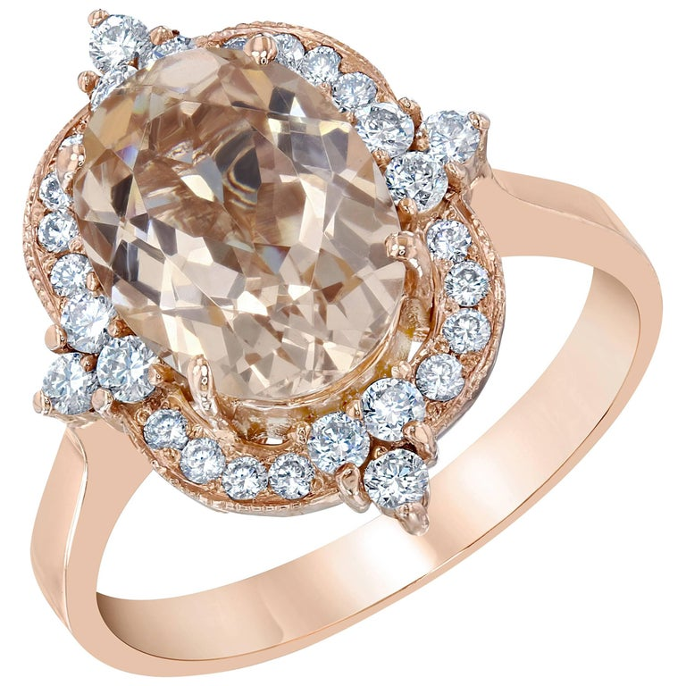 3.01 Carat Oval Cut Morganite Diamond Rose Gold Ring
