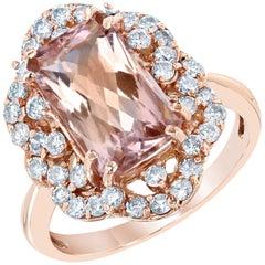 4.80 Carat Morganite Diamond Rose Gold Art Deco Ring
