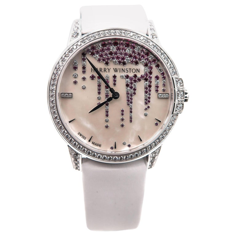 Harry Winston Ladies White Gold Midnight Diamond Stalactites Auto Wristwatch