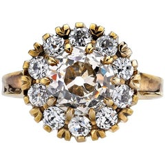 White Gold Old Mine Cut Diamond Cluster Ring