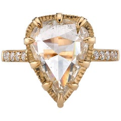 Yellow Gold Rose Cut Diamond Engagement Ring