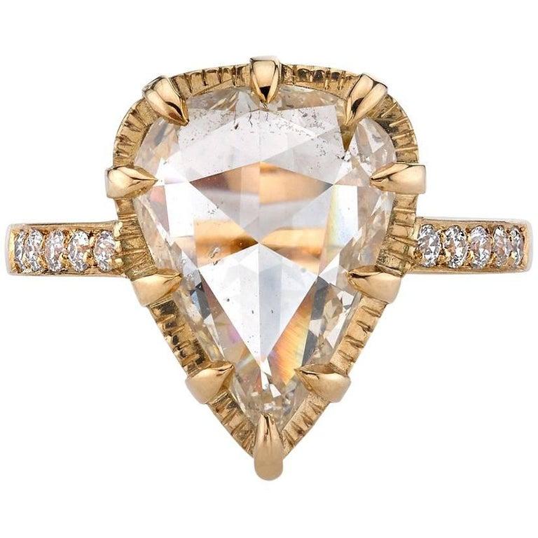 Yellow Gold Rose Cut Diamond Engagement Ring