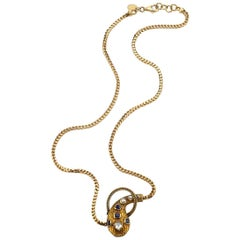 Yellow Gold Diamond and Sapphire Snake Necklace