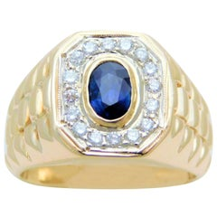 Gents Stately 14 Karat Gold Diamond and Ceylon Sapphire Ring