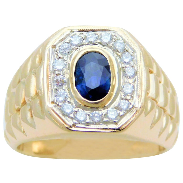 Gents Stately 14 Karat Gold Diamond And Ceylon Sapphire