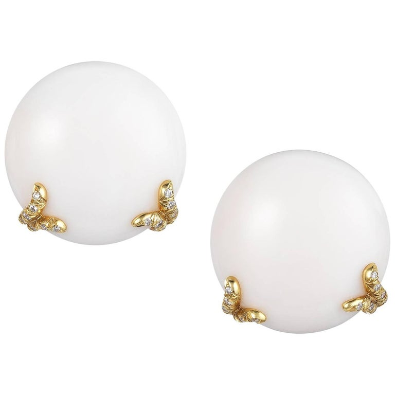 Dunay White Coral Earrings with Diamonds