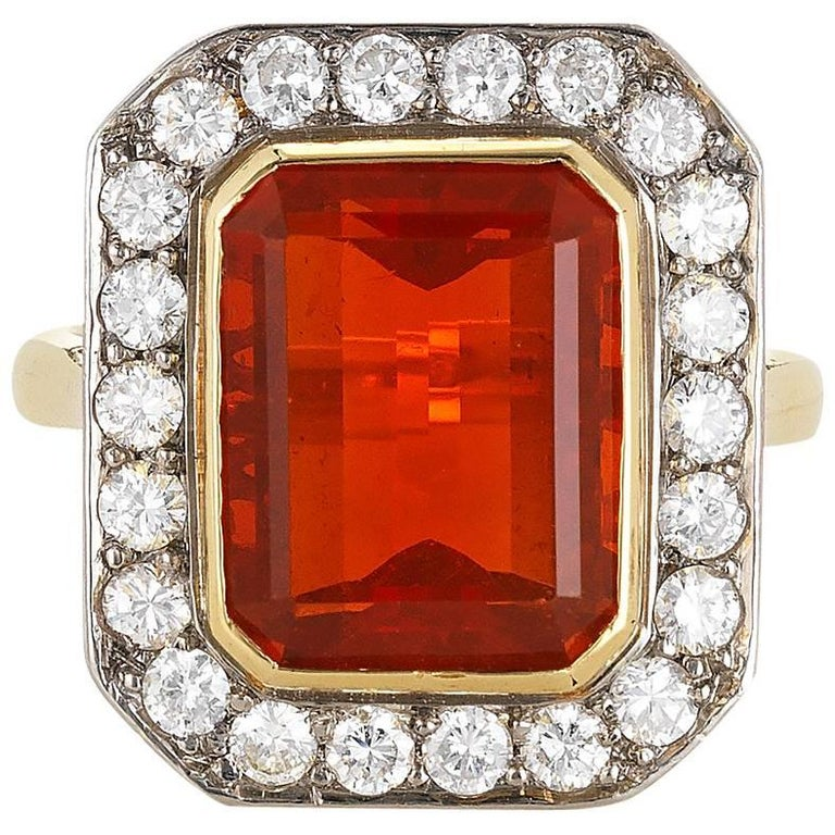 18 Karat Fire Opal and Diamond Ring