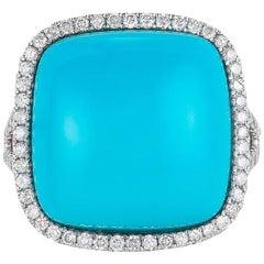 Natural Arizona Turquoise Ring Surrounded by Round Diamonds