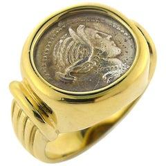 Genuine Grecian Coin Ring in 14 Karat Yellow Gold Setting