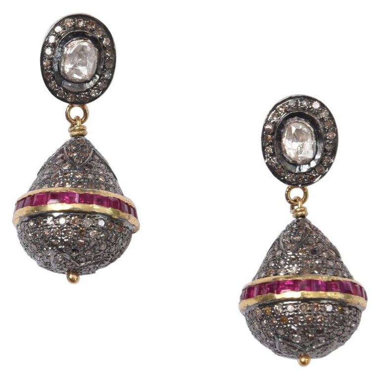 Diamond Drop Earrings with Channel-Set Rubies