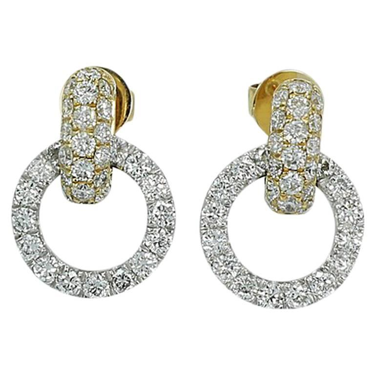 2.00 Carat Diamond Pave Circle Yellow and White Gold Earrings
