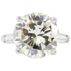 7.08 Carat Round Brilliant Diamond with Tapered Baguettes Ring