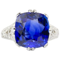 7.27 Carat Natural Ceylon Sri Lankan Blue Sapphire Diamond Ring